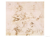 Several Studies of a Madonna and Child Reproduction proc&#233;d&#233; gicl&#233;e par Raphael 