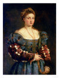 Portrait of a Noblewoman, or La Bella Gicle-tryk af Titian (Tiziano Vecelli)