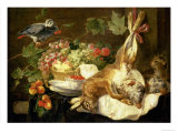 Still Life with Hare, Fruit and Parrot, 1647 Giclee Print by Jan Fyt