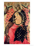 Madonna and Child Enthroned with Two Devout People Giclée-tryk af Paolo Veneziano