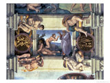 Sistine Chapel Ceiling: Creation of Eve, with Four Ignudi, 1510 Giclee Print by  Michelangelo Buonarroti
