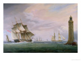 A Frigate and a Naval Brig Passing the Eddystone Lighthouse Giclee Print by Thomas L. Hornbrook