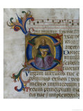 Historiated Initial &quot;D&quot; Depicting King David with Lyre, from a Psalter from San Marco E Cenacoli Giclee Print by Fra Angelico 