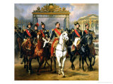 King Louis-Philippe of France and His Sons Leaving the Chateau of Versailles on Horseback, 1846 Giclée-Druck von Antoine Charles Horace Vernet