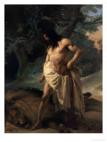 Samson Slays the Lion Giclee Print by Francesco Hayez