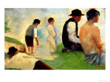 """Five Male Figures, Possible Preparatory Sketch for the """"Bathers at Asnieres,"""" 1883 Giclee Print by Georges Seurat"""