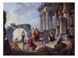 Ruins with the Apostle Paul Preaching, 1744 Giclee Print by Giovanni Paolo Pannini