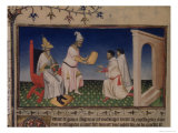 Kublai Khan Giving His Golden Seal to Marco Polo at His New Capital in Cambaluc Lmina gicle por Boucicaut Master