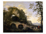 Landscape with a Dilapidated Bridge Giclée-tryk af Salvator Rosa