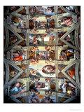 Michelangelo Buonarroti - Sistine Chapel Ceiling and Lunettes, 1508-12 - Giclee Baskı