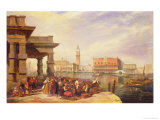 Eastern Merchants at the Entrance to the Grand Canal, Venice Giclee Print by Edward Pritchett