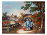 A Mother with Her Children in a Chinese Garden, circa 1850 Giclee Print