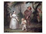 Peg Woffington as Rosalind with Celia and Touchstone in the Forest of Arden, Act II Scene 4 Giclee Print by Francis Hayman