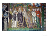 Empress Theodora with Her Court of Two Ministers and Seven Women, circa 547 AD Premium Giclee Print by  Byzantine School