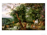 The Garden of Eden, in the Background the Temptation Giclée-Druck von Jan Brueghel the Elder