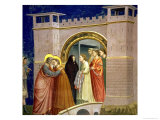 The Meeting at the Golden Gate, circa 1305 Gate in Jerusalem, circa 1305 Giclée-tryk af  Giotto di Bondone