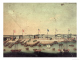 View of the Hongs at Canton with Danish, Austrian, American, Swedish, British and Dutch Factories Giclee Print