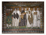 Emperor Justinian I and His Retinue of Officials, Soldiers and Clergy, circa 547 AD Premium Giclee Print