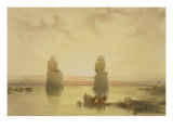 "The Colossi of Memnon, at Thebes, During the Inundation, from ""Egypt and Nubia,"" Vol.1 Giclee Print by David Roberts"