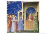 The Virgin's Suitors Presenting Their Rods at the Temple, circa 1305 Giclee Print by  Giotto di Bondone