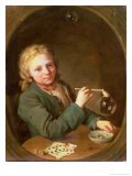 Young Man Blowing Bubbles from a Clay Pipe, 1766 Giclee Print by Lorenz The Younger Pasch