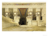 Facade of the Temple of Hathor, Dendarah, from &quot;Egypt and Nubia,&quot; Vol.1 Giclee Print by David Roberts