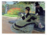 Madame Monet on a Garden Bench Giclee Print by Claude Monet