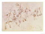 Study of Four Horsemen and a Male Nude for a &quot;Sacre Conversazione&quot; Reproduction proc&#233;d&#233; gicl&#233;e par Raphael 