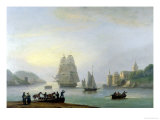 A Brig Entering Dartmouth Harbour, with a Ferry in the Foreground, 1828 Giclee Print by Thomas Luny