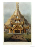 "The Gold Temple of the Principal Idol Guadma at Rangoon Plate 7 from ""Rangoon Views"" Giclee Print by Joseph Moore"