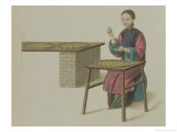 "A Woman Preparing Tea Plate 21 from ""The Costume of China"" Giclee Print by Major George Henry Mason"