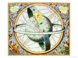 The Situation of the Earth in the Heavens Reproduction procédé giclée par Andreas Cellarius