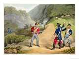A British Soldier Taking Two French Officers at the Battle of the Pyrenees Reproduction procédé giclée par John Augustus Atkinson