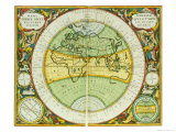 Ancient Hemispheres of the World, Plate 94 from the Celestial Atlas, or the Harmony of the Universe Reproduction procédé giclée par Andreas Cellarius
