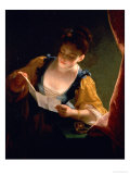Young Woman Reading a Letter Giclee Print by Jean Raoux