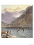 "Brothers Water, Detail of Ice Skaters, from ""The English Lake District,"" 1853 Giclee Print by James Baker Pyne"