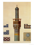 A Minaret and Ceramic Details from the Mosque of the Medrese-I-Shah-Hussein, Isfahan Premium Giclee Print by Pascal Xavier Coste