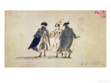 Three Masked Figures in Carnival Costume Reproduction proc&#233;d&#233; gicl&#233;e par Francesco Guardi