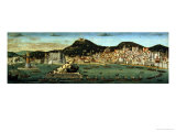 View of Naples Depicting the Aragonese Fleet Re-Entering the Port after the Battle of Ischia Giclee Print by Francesco Rosselli