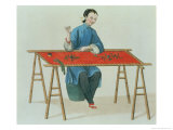 "A Woman Embroidering Plate 41 from ""The Costume of China"" Giclee Print by Major George Henry Mason"
