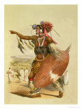 "Zulu Warrior, Utimuni, Nephew of Chaka the Late Zulu King, Plate 13 from ""The Kafirs Illustrated"" Giclee Print by George French Angas"