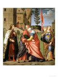 The Meeting at the Golden Gate with Saints, 1515 Gicle-tryk af Vittore Carpaccio