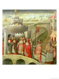 Procession of St. Gregory to the Castel St. Angelo Gicle-tryk af Giovanni di Paolo
