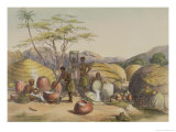 "Gudu's Kraal at the Tugala, Women Making Beer, Plate 26 from ""The Kafirs Illustrated,"" 1849 Giclee Print by George French Angas"