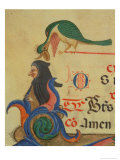 A Fantastical Bird Perched Above a Cloaked Figure, Detail of Decorated Initial &quot;R&quot; Giclee Print by Filippo Di Matteo Torelli