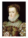 Portrait of Elizabeth of Austria Queen of France, circa 1570 Giclee Print by Francois Clouet