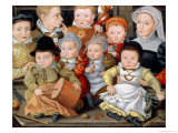 Portrait of a Mother with Her Eight Children, 1565 8914465 Premium Giclee Print by Jakob Seisenegger
