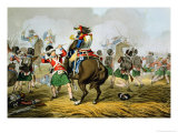 French Cuirassiers at The Battle of Waterloo, Charged and Defeated by The Highlanders Lmina gicle por John Augustus Atkinson