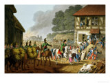 French Troops Retreating Through and Plundering a Village Giclee Print by John Heaviside Clark