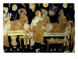 Red and White Figure Calyx Crater: Detail Depicting Banquet Scene, Greek Giclee Print